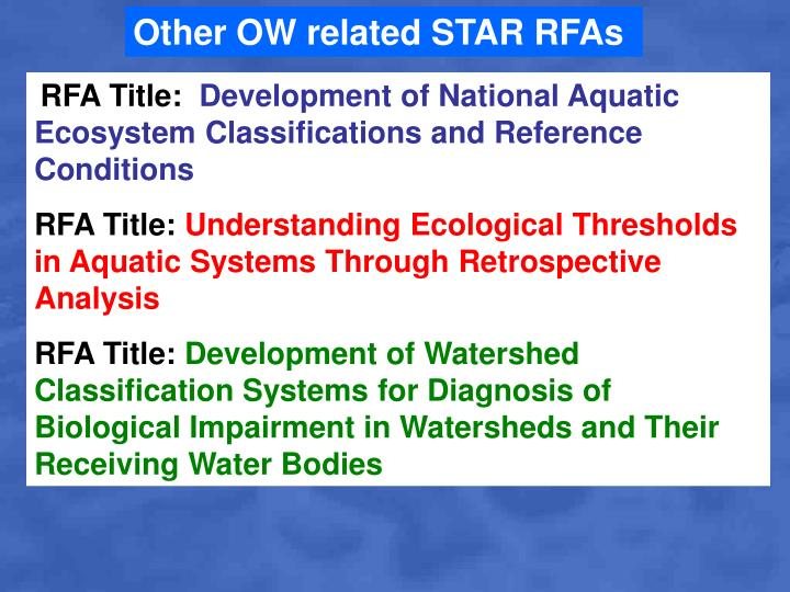 Other OW related STAR RFAs