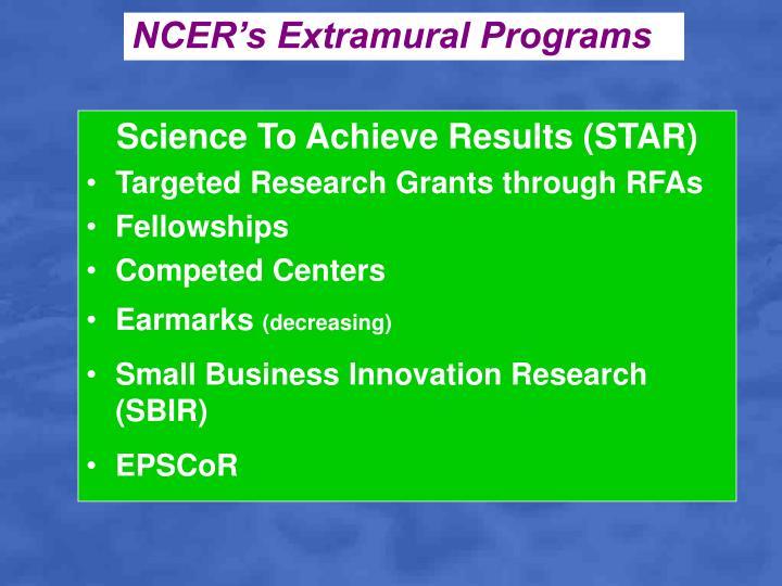 NCER's Extramural Programs