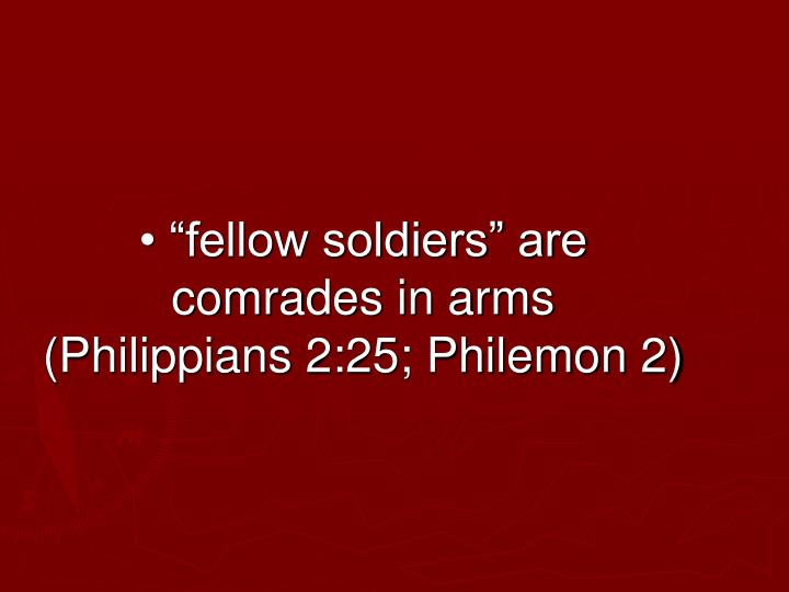 "• ""fellow soldiers"" are comrades in arms  (Philippians 2:25; Philemon 2)"