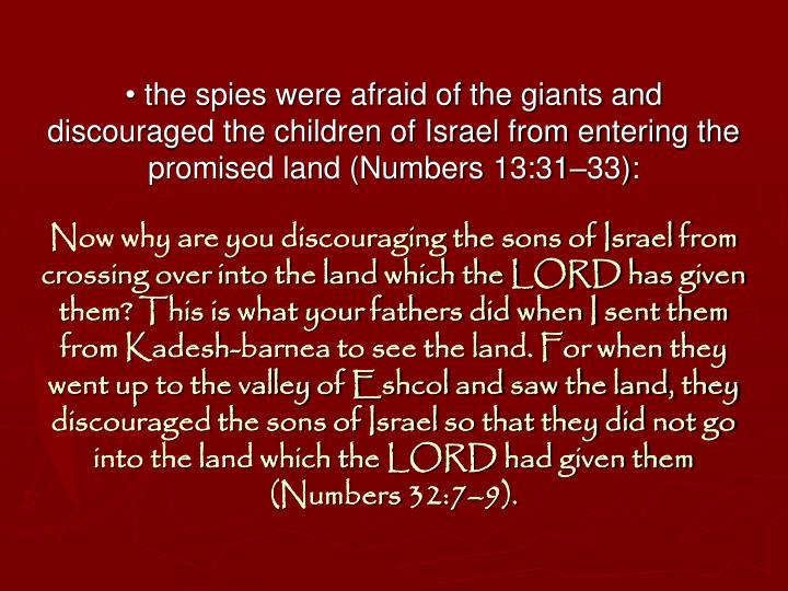 • the spies were afraid of the giants and discouraged the children of Israel from entering the promised land (Numbers 13:31–33):
