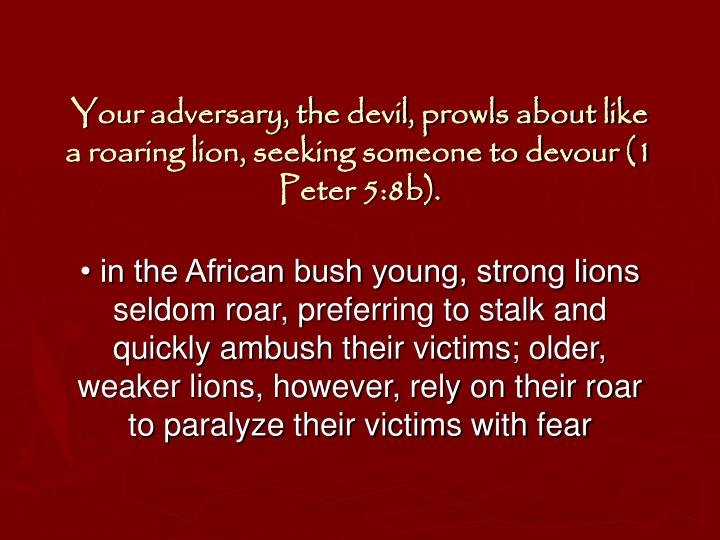 Your adversary, the devil, prowls about like a roaring lion, seeking someone to devour (1 Peter 5:8b).