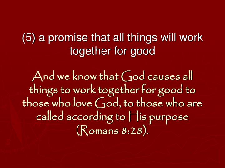 (5) a promise that all things will work together for good