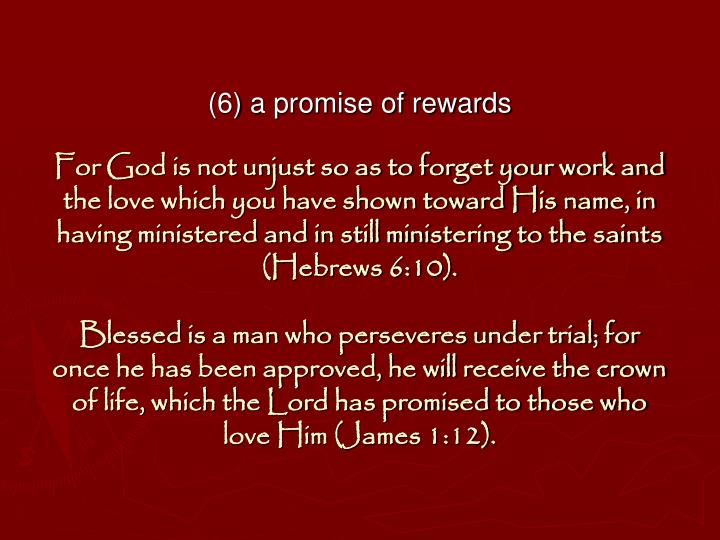 (6) a promise of rewards