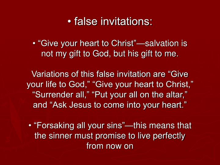 • false invitations:
