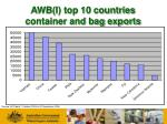awb i top 10 countries container and bag exports