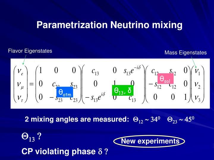 Parametrization Neutrino mixing