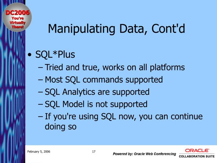 Manipulating Data, Cont'd