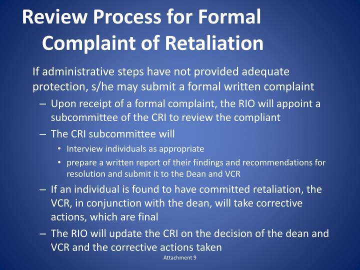 Review Process for Formal Complaint of Retaliation