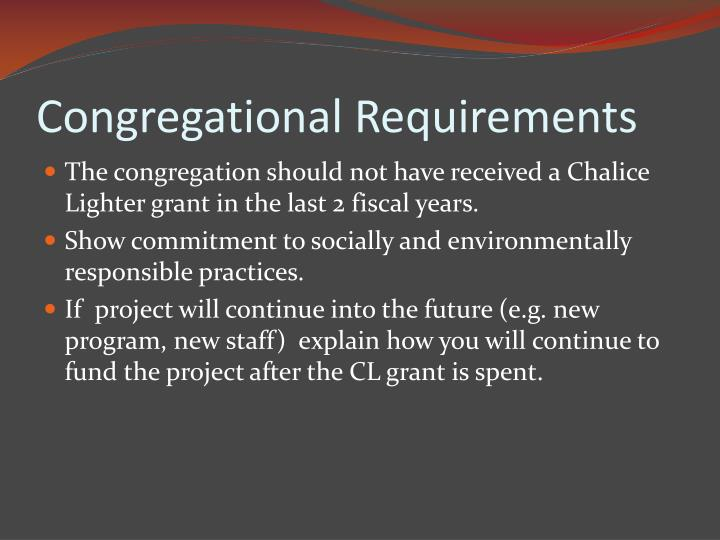 Congregational Requirements