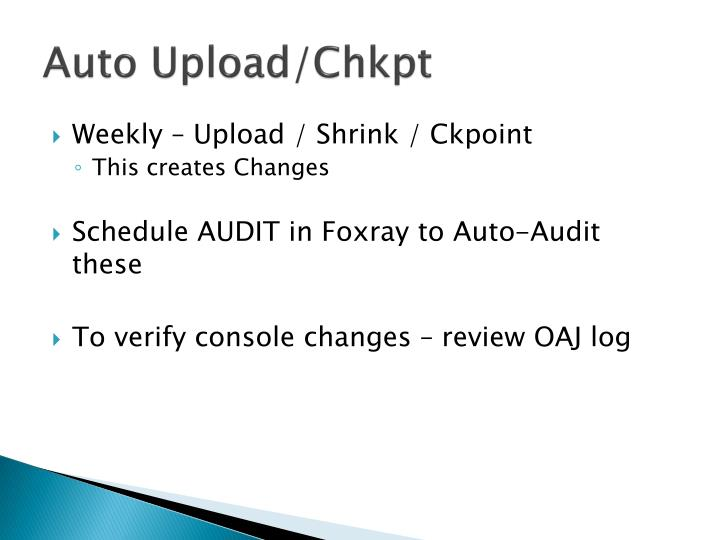 Auto Upload/Chkpt