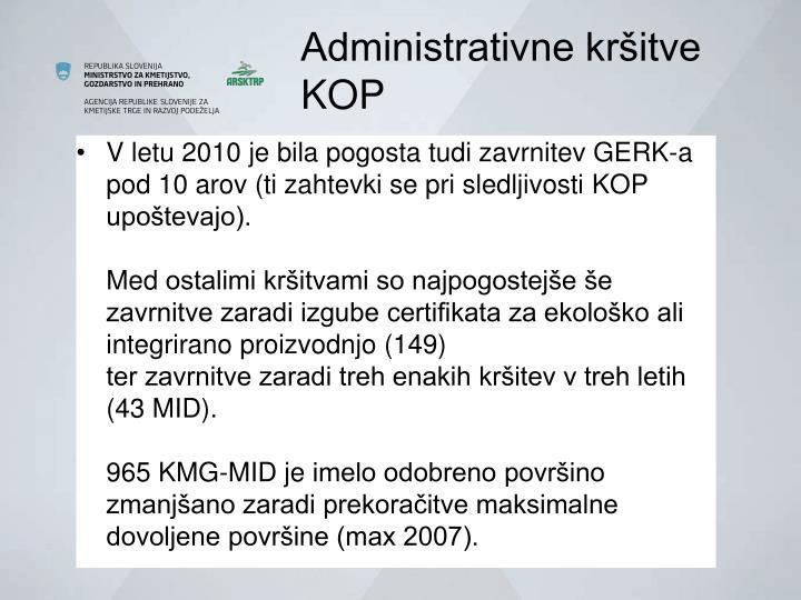 Administrativne kršitve                 KOP