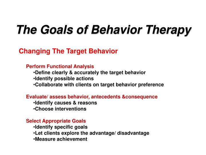 The Goals of Behavior Therapy