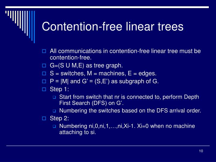 Contention-free linear trees