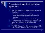 properties of pipelined broadcast algorithms