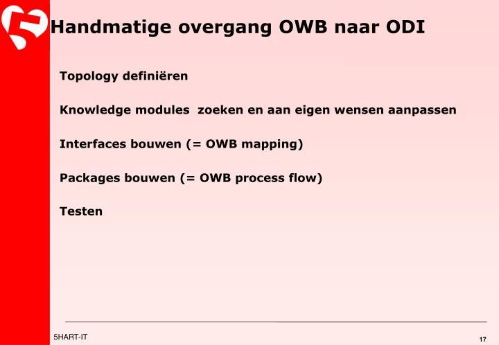 Handmatige overgang OWB naar ODI