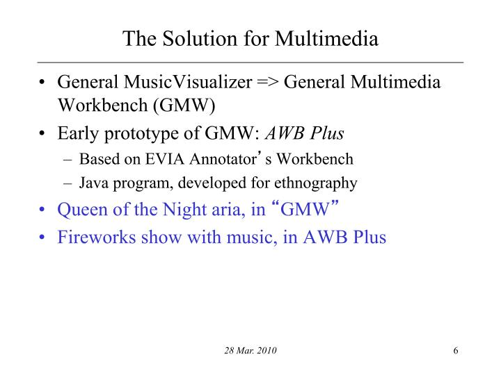The Solution for Multimedia
