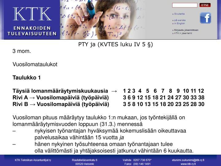 PTY ja (KVTES luku IV 5 §)