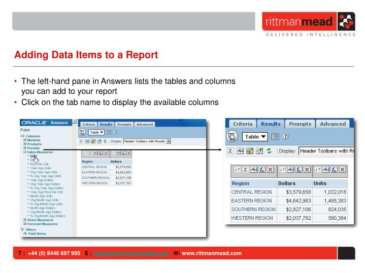 Adding Data Items to a Report