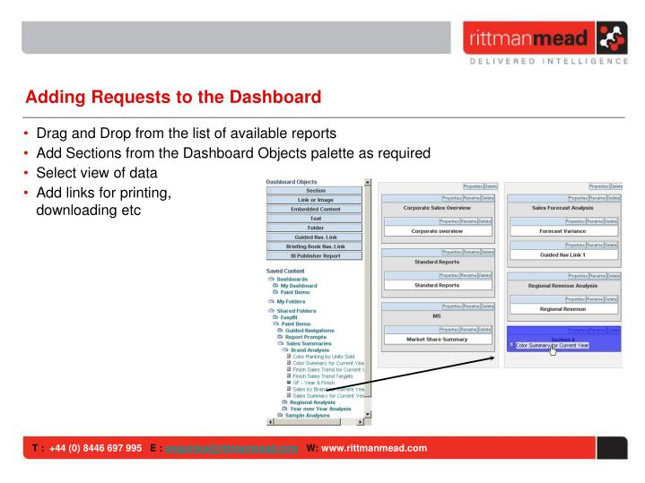 Adding Requests to the Dashboard