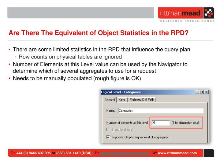 Are There The Equivalent of Object Statistics in the RPD?