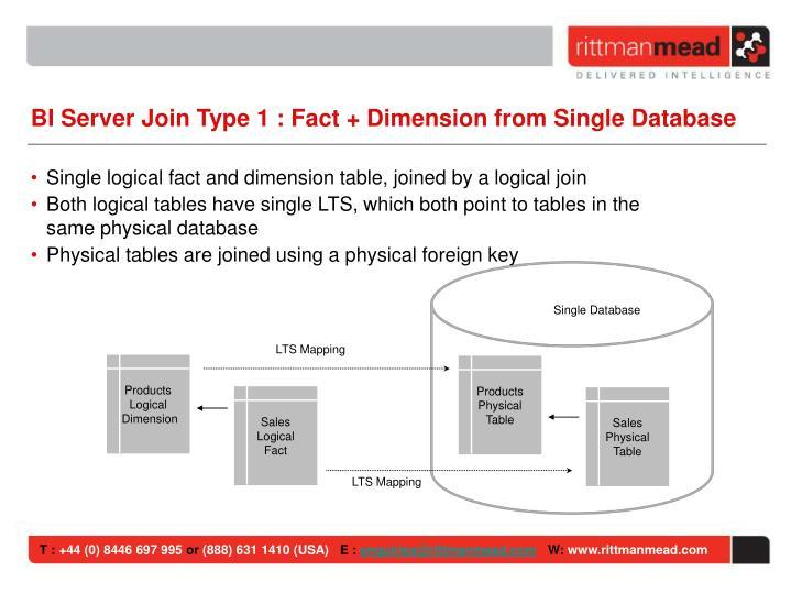 BI Server Join Type 1 : Fact + Dimension from Single Database