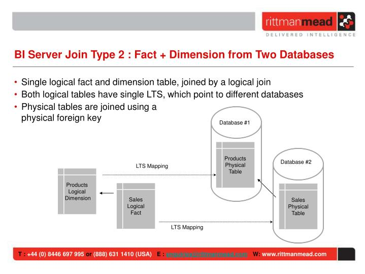 BI Server Join Type 2 : Fact + Dimension from Two Databases