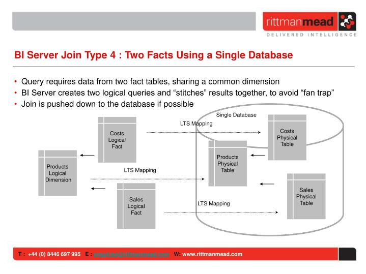 BI Server Join Type 4 : Two Facts Using a Single Database