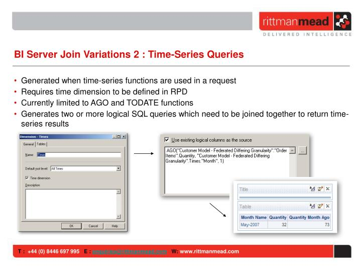 BI Server Join Variations 2 : Time-Series Queries