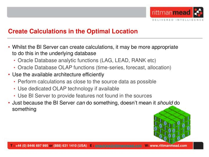 Create Calculations in the Optimal Location