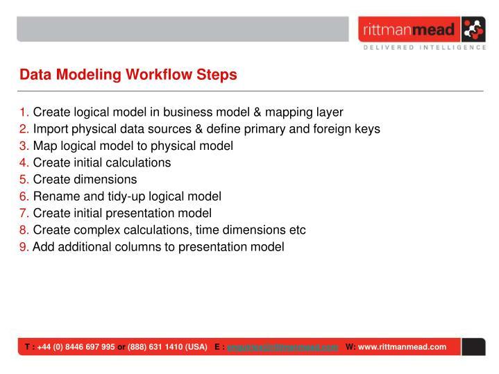Data Modeling Workflow Steps