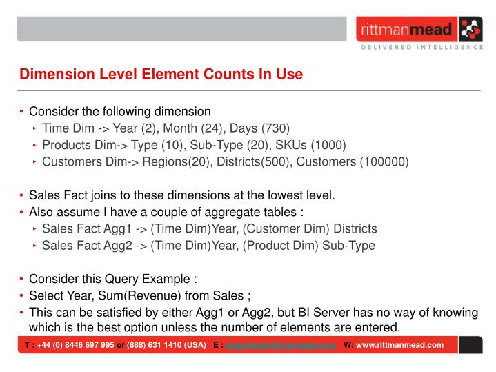 Dimension Level Element Counts In Use