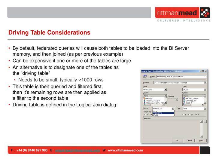 Driving Table Considerations