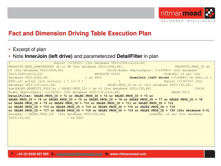 Fact and Dimension Driving Table Execution Plan