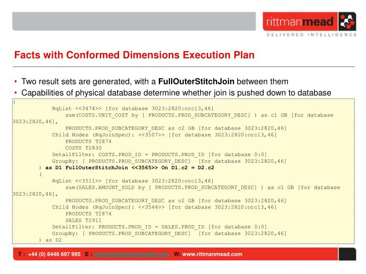 Facts with Conformed Dimensions Execution Plan