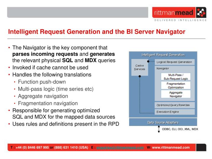 Intelligent Request Generation and the BI Server Navigator