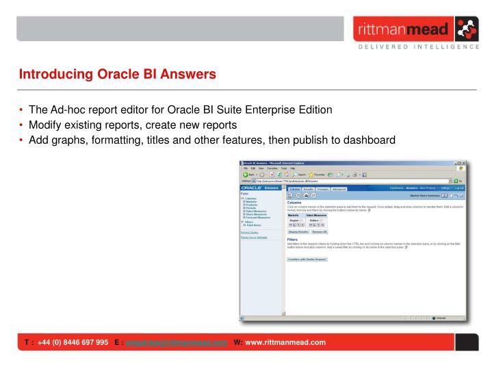 Introducing Oracle BI Answers