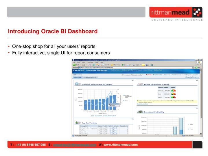 Introducing Oracle BI Dashboard