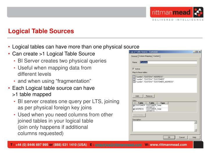 Logical Table Sources