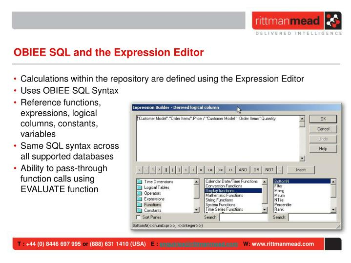 OBIEE SQL and the Expression Editor