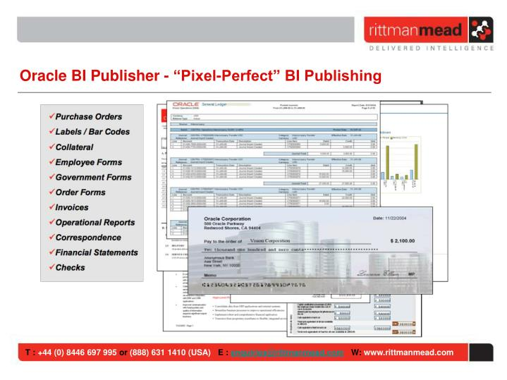 "Oracle BI Publisher - ""Pixel-Perfect"" BI Publishing"