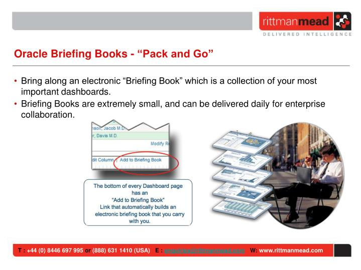 """Oracle Briefing Books - """"Pack and Go"""""""