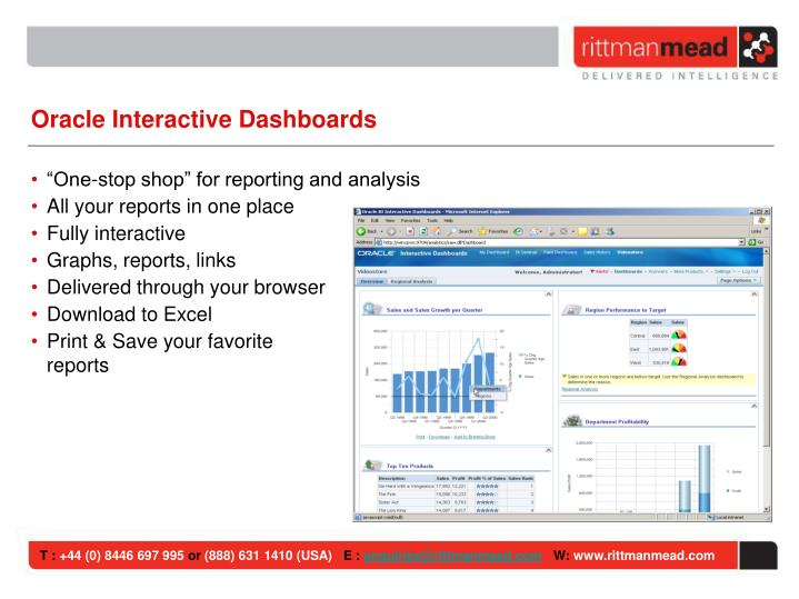 Oracle Interactive Dashboards