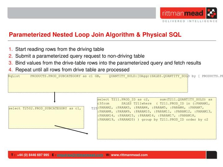 Parameterized Nested Loop Join Algorithm & Physical SQL