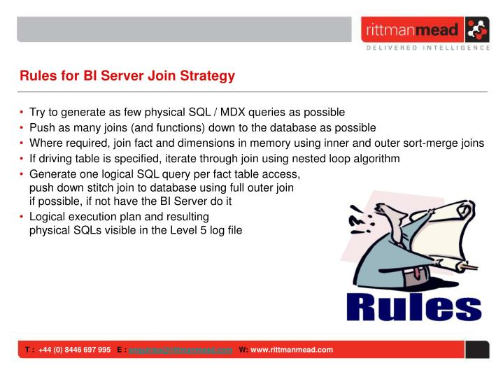 Rules for BI Server Join Strategy