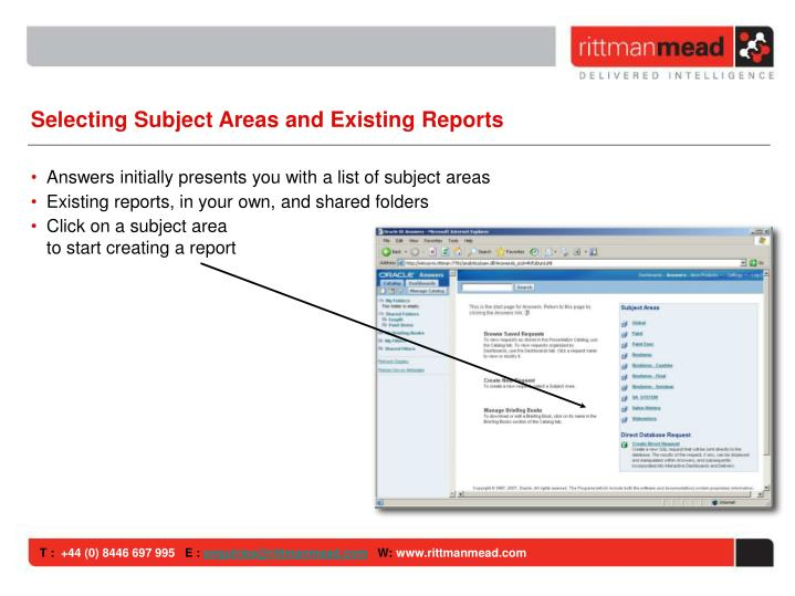 Selecting Subject Areas and Existing Reports