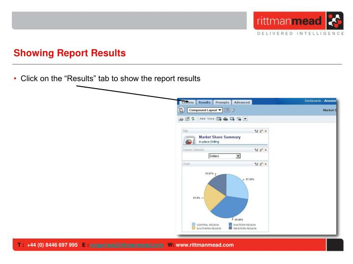 Showing Report Results