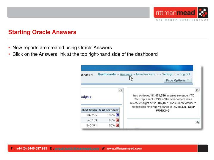 Starting Oracle Answers
