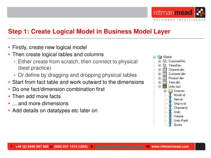 Step 1: Create Logical Model in Business Model Layer