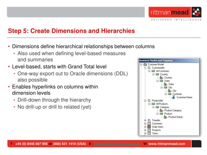 Step 5: Create Dimensions and Hierarchies