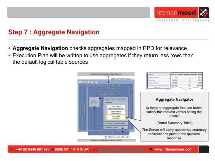 Step 7 : Aggregate Navigation